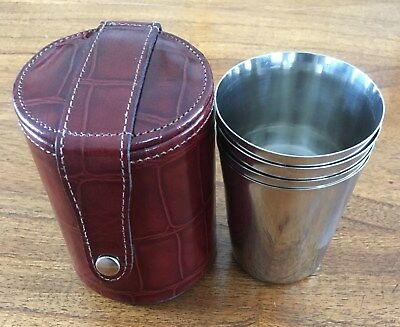 New (Old Stock) Set 4 Stainless Steel Polished Stirrup Cups In A Leather Case