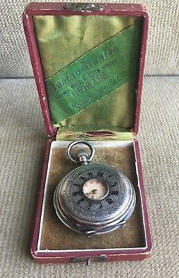 DIOGENES halb Savonette half hunter Pocket Watch Silber  49 mm ca. 1890 Defekt
