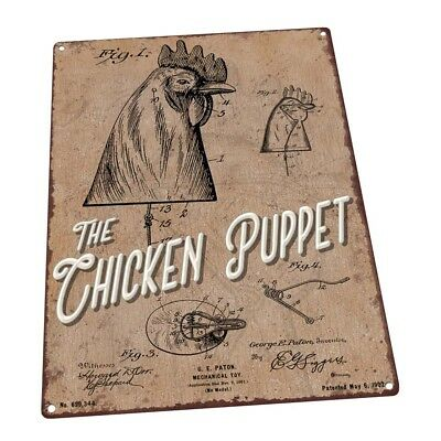 The Chicken Puppet Metal Sign; Wall Decor for Farm and Country
