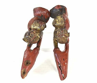 Pair of Antique Chinese  Red & Gilt Wood Carving / Carved Statue of Foo Dog Lion