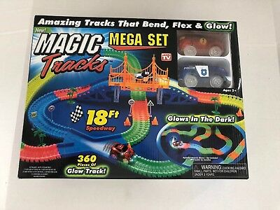 Magic Tracks 18 ft 360Pcs Mega Set 2 LED Race Cars Glow In The Dark