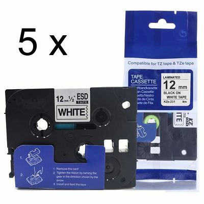 Waterproof For Brother TZe-231 P-Touch Laminated TZ-231 Label Tape Makers 12mm