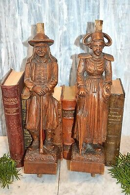 Antique French Pair Large Carved Wood Figural Breton Couple Corbels Statues