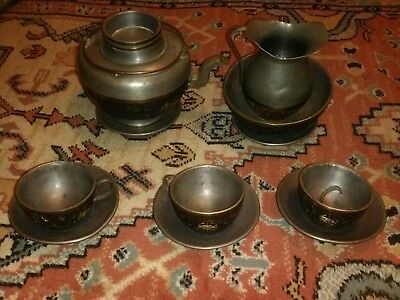 19c Chinese Coconut Shell And Pewter Tea Service
