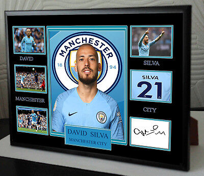 DAVID SILVA Framed A4 Canvas Tribute Print  Signed