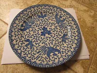 """Japanese Vintage Blue and White Phoenix Bird and Flowers plate 9 1/2"""" Dia."""