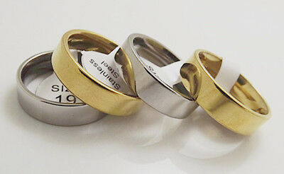 Wholesale 12 pcs golden/Silver 6 mm Inner arc flat plate Stainless Steel Rings