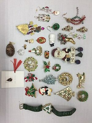 Lot Of Vintage & Current Christmas Jewelry Pins Charms Monet 2007 Pinecone More