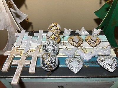 20 PC Solid Wood 3D Hand Carved Decorated Christmas Cross & Dove Ornament Set