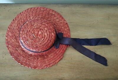 ALL ORIGINAL Vintage Madame Alexander McGuffey Ana Style Red Straw Doll Hat