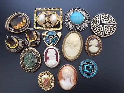 Job Lot of Brooches Vintage Styles Cameo Matching Earrings + C.Popesco Jewellery