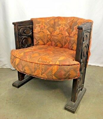 Outstanding Vintage Spanish Style Carved Wooden Leg Burnt Orange Barrel Bralicious Painted Fabric Chair Ideas Braliciousco