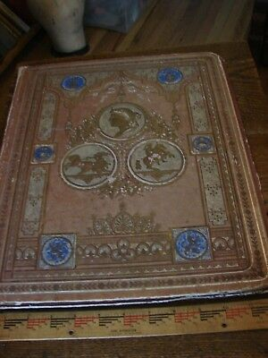 Antique Victorian Scrapbook- 22 blank pages- a few loose trade cards