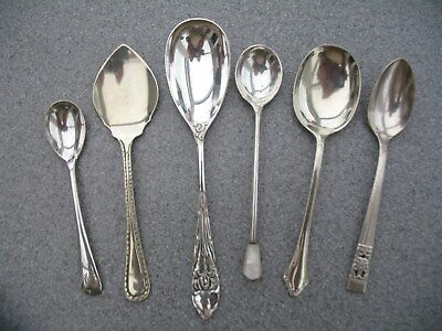 6 Mixed Vintage Plated Condiment Spoons