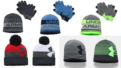 Under Armour NWT Youth Boys Beanie Hat Glove Combo Set One Size fits most 4-20