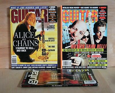 1996 lot of 3 GUITAR WORLD Magazine ALICE IN CHAINS Zappa OASIS Tony Iommi GOOD
