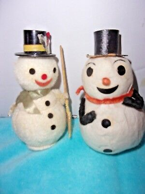 Pair Of Vintage Cotton Based Snowman Japan One With Broom