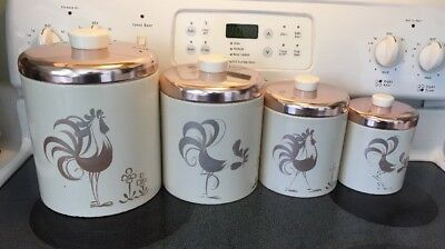 Vintage Kitchen Canister Set Mid Century Ransburg Copper Cream Rooster Theme