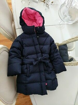 Jcrew Crewcuts Girls Navy Blue Puffer Coat Jacket Size 3 3t  EUC pink