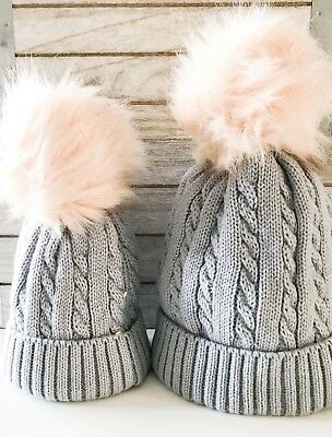 Matching Mum & Baby Cable Knit Pom Pom Hats in Grey - Twinning