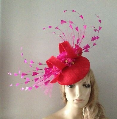 7cb59e638a2c0 Red Fuchsia Fascinator Beret Hat Feather Ladies Percher Vintage Ascot  Wedding