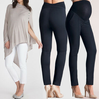 Pregnant Women High Waist Pants Maternity Lady Office Long Black Trousers White
