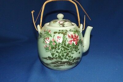 Antique Japanese Celadon Porcelain Pre WWII Enameled Decorated Teapot AS IS