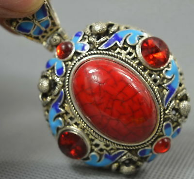 Collectable Handwork Old Miao Silver Carve Flower Inlay Agate Noble Red Pendant