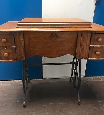 Antique  Sewing Machine Table Cabinet With Cast Iron Base  (No Machine)
