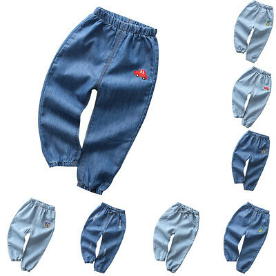 Boys Girls Jeans Spring Summer Cotton Long Denim Trousers Kids Children Pants