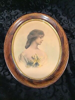 Antique Oval Picture Frame Beautiful Girl Woman 1913 Southern Belle TN HISTORY!