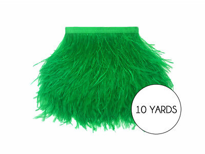 10 Yards - Kelly Green Ostrich Fringe Trim Wholesale Feather Prom Dress Costume