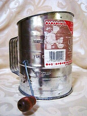 Vintage Bromwell's Metal Flour Sifter Hand Crank 3 cup Brown Wood Handle