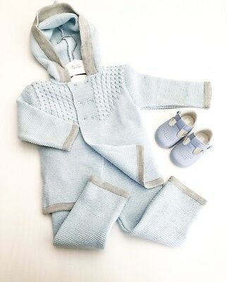 Traditional Spanish Style Baby Boys Blue & Grey Knitted Hooded Outfit by Zip Zap