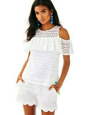 aacce7f9cf07e Lilly Pulitzer NWT Lyra Top Resort White Scalloped Lace  98 Size XXS