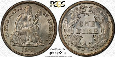 1876 10c Seated Liberty Dime PCGS Genuine UNC Detail
