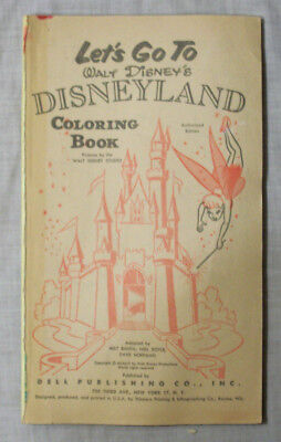 Vintage Let's Go to Disneyland Coloring Book **** MISSING FRONT COVER **** DELL