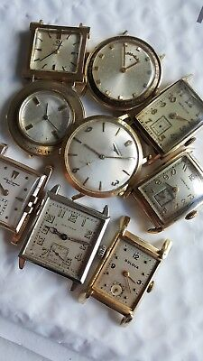 Lot Of 9 Vintage Solid Gold Watches Longines Elgin Omega Hamilton Jj Waltham