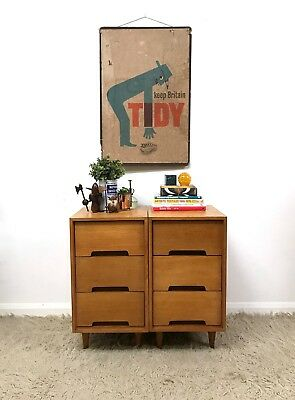 50s 60s Stylish Vintage Retro Mid Century Stag oak bedside tables drawers