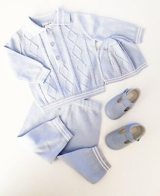 Traditional Spanish Style Baby Boys Blue Knitted Outfit - Top, Trousers & Hat