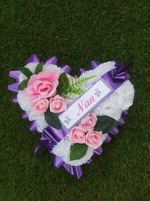 Purple & Pink Heart Funeral Wreath Artificial Flower Grave Memorial Mothers Day