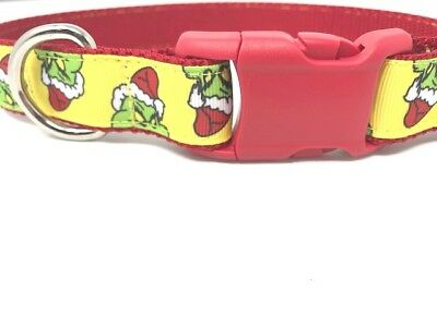 Red, Green, White Christmas Grinch Dog Collar For Girls Or Boys, Large