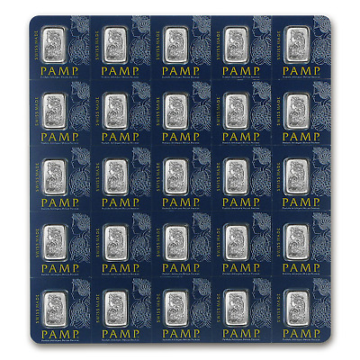 25x1 gram Platinum Bar PAMP Suisse Multigram+25 (In Assay) - SKU #96246