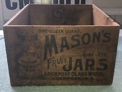 Antique Early Mason Jar Crate Wood Box Rare & Very Graphic Quality Clean