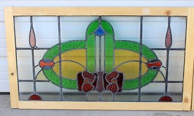 Antique English 7-Color Leaded Stained Glass TRANSOM Window Reframed Art Deco #1