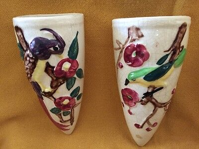 Pair of Antique Wall Pockets Bird Design Cone Shaped