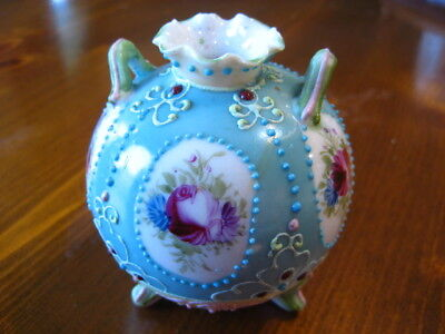 """Vase Blue with Flowers & Beading Porcelain 3 Feet 2 Handles Small 3.5"""" ANTIQUE"""