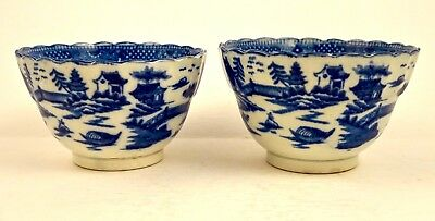 Antique Pair of Blue Willow English Porcelain Tea Bowls, 18th C Transferware
