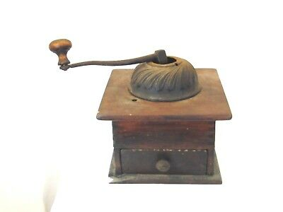Antique coffee grinder 7 1/2 in by 7 1/2 in wood box with grinding drawer  XG2