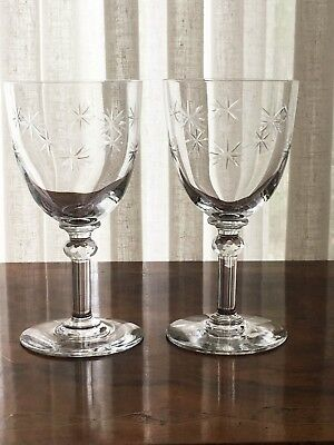 Pair of Old Wine Glasses. Engraved Stars to Bowl. Good Size for Red Wine.